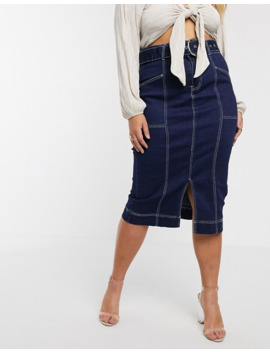 Liquor N Poker Plus Denim Panelled Midi Skirt by Liquor N Poker