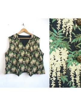 Vintage Floral Print Vest | 80s Foliage Pattern Lightweight Rayon Handmade Waistcoat | Womens Plus Size 1 X by Etsy