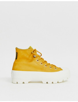 Converse Yellow Leather Goretex Hiker Hi Sneakers by Converse