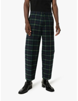 Cropped Checked Cotton Trousers by Balenciaga
