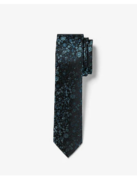 Narrow Floral Printed Silk Tie by Express