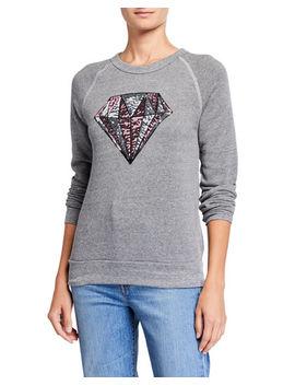 Plus Size Sequin Diamond Eco Fleece Crewneck Sweatshirt by Melissa Masse