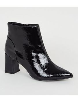 Wide Fit Black Crinkle Patent Pointed Boots by New Look
