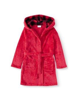 Dream Life Girls Plush Pajama Robe   Solid W/ Baffulo Check Accent Hood (Little Girls & Big Girls) by Dream Life