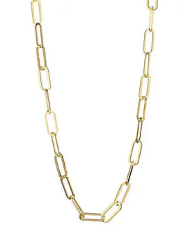 18 K Yellow Gold Vermeil Chain Link Necklace by Jennifer Zeuner Jewelry