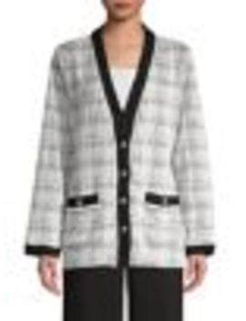 Plaid Button Front Knit Cardigan by Karl Lagerfeld Paris