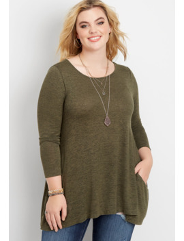 Plus Size 24/7 Solid Pocket Tunic Tee by Maurices