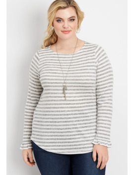 Plus Size 24/7 Stripe Long Flutter Sleeve Tee by Maurices
