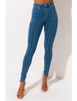 Move Along Rhinestone Skinny Jeans by Akira