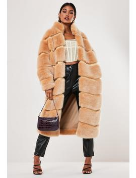 Premium Beige Faux Fur Pelted Maxi Coat by Missguided