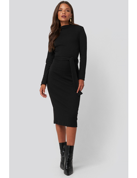 Belted Rib Knitted Dress Black by Na Kd Trend