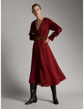 Sukienka Z Paskiem Z LejĄcego MateriaŁu by Massimo Dutti