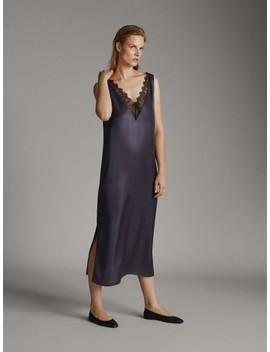 Sukienka BieliŹniana Z Koronkowym WykoŃczeniem by Massimo Dutti
