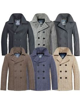 Brandit Pea Coat Marine Woll Mantel Herren Winter Jacke Navy Caban Kurzmantel by Ebay Seller