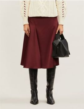 Eva High Waisted Satin Crepe Midi Skirt by Samsoe & Samsoe