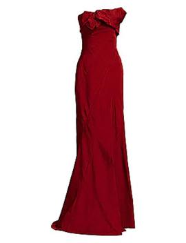 Asymmetric Strapless Gown by Oscar De La Renta