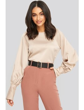 Cropped Satin Balloon Sleeve Blouse Beige by Na Kd Party