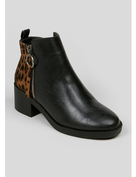Girls Leopard Block Heel Ankle Boots (Younger 10 Older 5) by Matalan