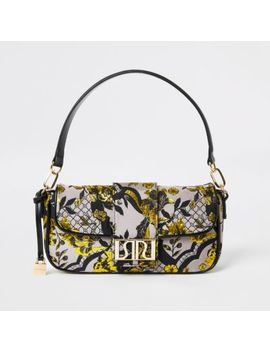 Grey Floral Jacquard Underarm Bag by River Island