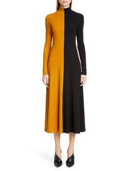 Bicolor Long Sleeve Midi Dress by Rosetta Getty