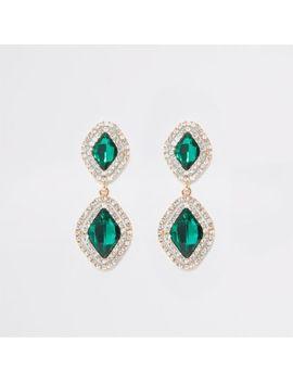 Green Jewel Diamante Paved Drop Earrings by River Island