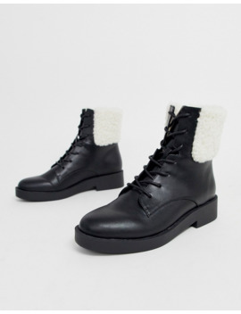 Asos Design Audience Borg Lace Up Ankle Boots by Asos Design