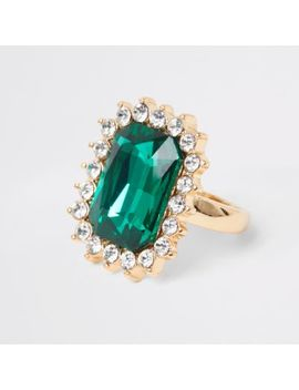 Gold Colour Green Emerald Stone Ring by River Island