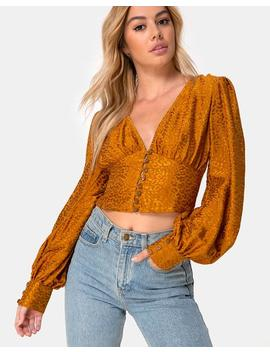 Bina Crop Top In Satin Cheetah Gold By Motel by Motel