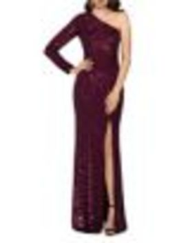 Sequin One Shoulder Gown by Xscape