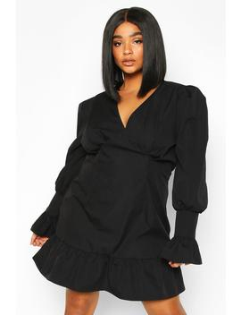 Plus Ruffle Detail Plunge Smock Dress by Boohoo