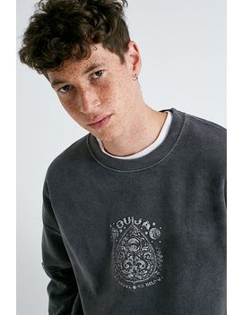 Uo Washed Black Puff Print Crew Neck Sweatshirt by Urban Outfitters