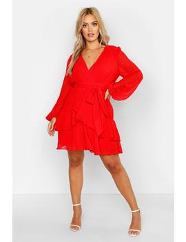 Plus Ruffle Hem Dobby Mesh Skater Dress by Boohoo
