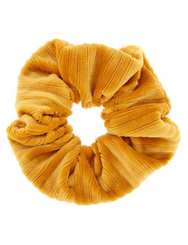 Ribbed Velvet Hair Scrunchie   Mustard by Claire's
