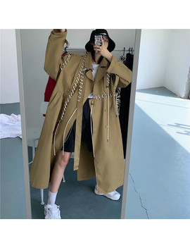 [Ewq] Fashion Europe Windbreaker Female Autumn And Spring New 2019 Trench Coat For Women Temperament Drawstring Coats Ah010 by Ali Express.Com
