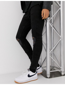 Brave Soul Ripped Black Skinny Fit Biker Jeans   Rts Do Not Put Live by Asos