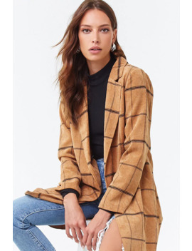 Grid Open Front Blazer by Forever 21