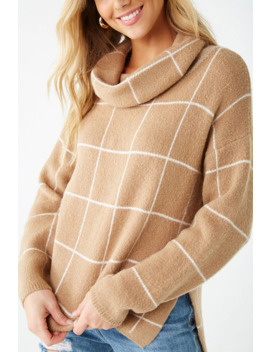 Grid Print Turtleneck Sweater by Forever 21
