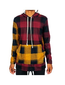 Buffalo Plaid Flannel Hoodie Slim Fit   3 Tone by Iconic