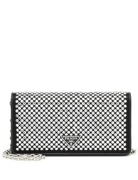 Crystal Embellished Leather Clutch by Prada