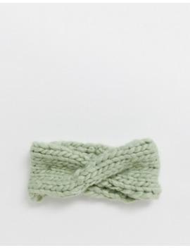 Asos Design Chunky Knit Headband In Light Green by Asos Design
