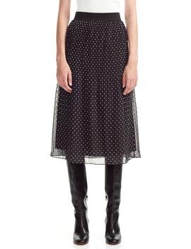 Polka Dot Pleated Chiffon Skirt by Maje