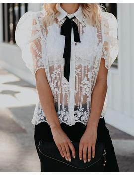 Strength And Guidance Sheer Lace Tie Blouse by Vici