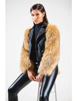 Azalea Wang Cabin Fever Fur Sleeve Moto Jacket by Akira