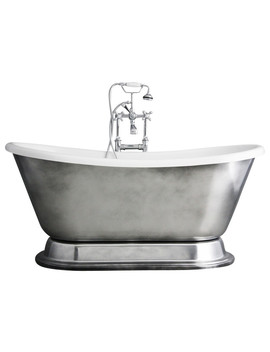 """'christoforo'  Acrylic French Bateau Tub Package With Aged Chrome Exterior, 59"""" by The Tub Studio"""