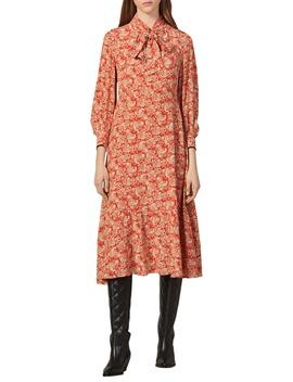 Lanelle Paisley Tie Neck Midi Silk Dress by Sandro