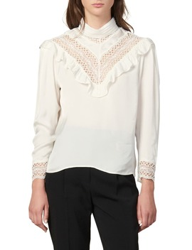 Jeane Lace Trim Long Sleeve Blouse by Sandro