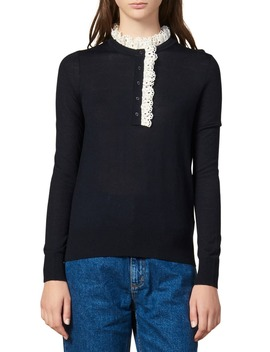 Colane Eyelet Detail Wool Blend Sweater by Sandro