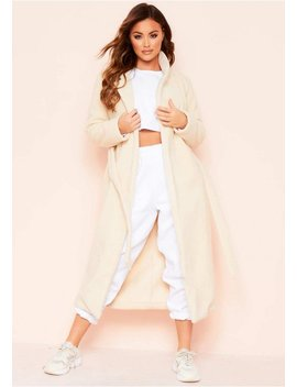 Avarel Cream Longline Belted Wool Coat by Missy Empire