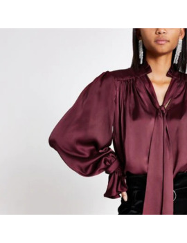 Red Tie Neck Long Sleeve Satin Top by River Island