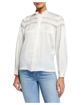 Paneled Lace Long Sleeve Silk Blouse by Frame